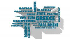 Greece politic situation relative tags cloud Stock Footage
