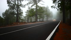 4K UHD Auto driving in the cloudy mist Mt. Teide peak Pico del Teide National Stock Footage