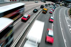 Traffic on multiple lane highway with motion blur Stock Photos