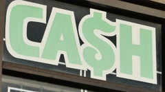 Pawn Shop Cash Sign Stock Footage