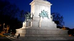Monument to Garibaldi. Night. Piazza Garibaldi, Rome, Italy. 4K Stock Footage