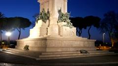 Monument to Garibaldi. Night. Rome, Italy. 4K Stock Footage