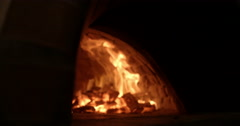 Traditional wood fire pizza oven Stock Footage