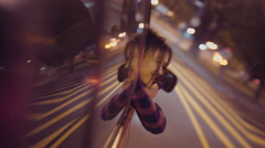 Girl leaning out of car window while driving - stock footage
