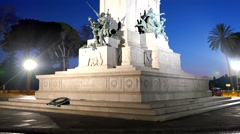 Monument to Garibaldi. Night. Ganicolo, Rome, Italy. 4K Stock Footage