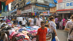 Clothes market time lapse Crawford Market Mumbai India Stock Footage
