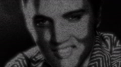 Animation of Elvis Presley face made with numbers running - stock footage