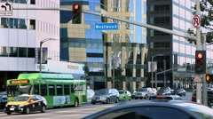 4K, UHD, Traffic on Wilshire and Westwood near UCLA at rush hour, Los Angeles Stock Footage