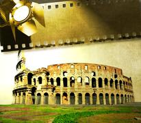 Vintage image of Colosseum with film strip and reflector Stock Illustration