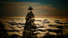 4K UHD Cumulus Clouds Rolling Over Sky at Sunset Mt. Teide peak Pico del Teide Stock Footage