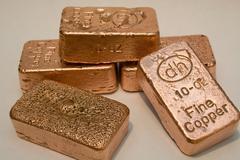 10 Troy Ounce Copper Bars Stock Photos