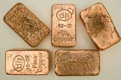10 Troy Ounce Copper Bars - stock photo