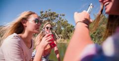 Teen girls saying cheers with alcopops on summer break Stock Footage