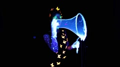 Girl with luminous make up making group bubbles Stock Footage