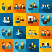 Stock Illustration of Partnership Flat Icons