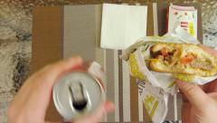 Eating a juicy burger Point Of View POV Stock Footage