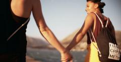 Girls in alternative styling holding hands - stock footage