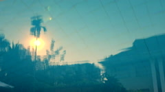Reflection Of The Sunset In The Swimming Pool Stock Footage