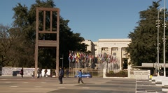 """Broken chair"" in front of the UNOG main entrance. Stock Footage"