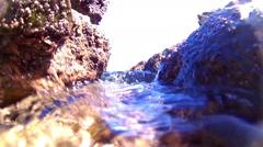 Tide Pool Rocks Blue Clear Water Underwater Surge Ocean Motion Background Stock Footage