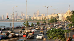 Mumbai Marine drive city skyline road transport travel Stock Footage