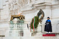 ROME,ITALY-March 24,2015:a female soldier guard at the monument of the Unknow - stock photo
