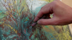 Close-up Footage. Painter Drawing A Picture of Autumn Landscape With Chalks Stock Footage
