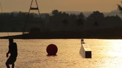 Sunset Slowmotion Wakeboarding HD - stock footage