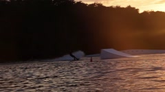 Wakeboarding Sunset FHD Stock Footage