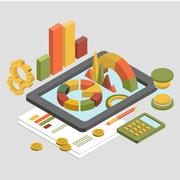 Flat 3d Isometric Business , Chart Graphic vector - stock illustration