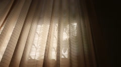 window curtains wave at dawn - stock footage