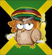 Rastafarian owl cartoon on jamaican flag - stock illustration