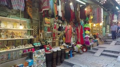 Tourists and locals at Jerusalem old market Stock Footage