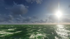 Animated clouds with foamy ocean Stock Footage