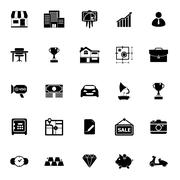 Asset and property icons on white background Stock Illustration