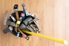 Large selection of hammers for every occasion Stock Photos