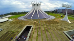 Aerial View of Famous Cathedral of Brasilia, in the city capital of Brazil Stock Footage