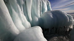 Big icicles on the rock Stock Footage