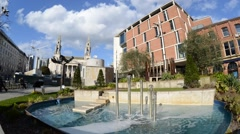 Time lapse nelson mandela gardens by the civic hall in the city of leeds  uk Stock Footage