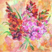 Bouquet Of Gladiolus Flowers - stock illustration