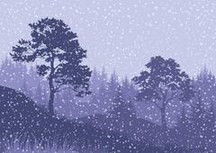 Christmas Winter Mountain Landscape - stock illustration