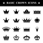 Basic Crown icons set Stock Illustration