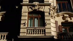 Facade. Balcony covered by shadows Stock Footage