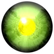 Animal eye with large pupil and yellow retina in background. Slim colorful iris - stock illustration