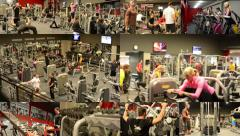 4K montage (compilation) - people work out on the machines in the fitness center Stock Footage