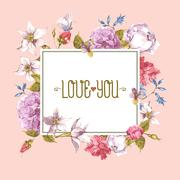 Stock Illustration of Watercolor Greeting Card with Blooming Flowers