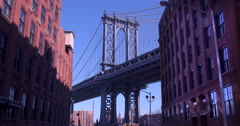 4K - Zoom IN of The Iconic Manhattan Bridge Viewed From Dumbo, Brooklyn. Stock Footage