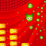 Attack of illness bacteria - stock illustration