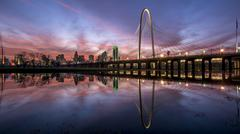 Colorful Dallas skyline reflecting in morror like water Kuvituskuvat