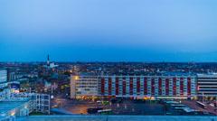Skyline of Leiden (The Netherlands) sunset 4K timelapse Stock Footage